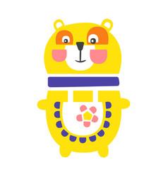 cute cartoon yellow teddy bear standing funny vector image vector image
