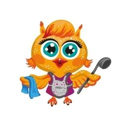 cute owl Cartoon character housewife vector image