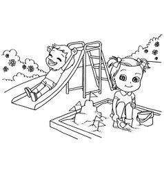kids at the playground cartoon coloring page vector image vector image