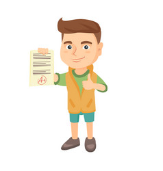 pupil holding a sheet with the highest mark vector image vector image