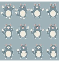 Set of flat grey cat icons vector
