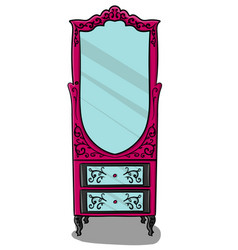 the cabinet is purple with gray details and with a vector image vector image