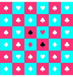 Card Suits Blue Pink Chess Board Background vector image