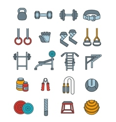 Weightlifting flat thin lines icons set vector image vector image
