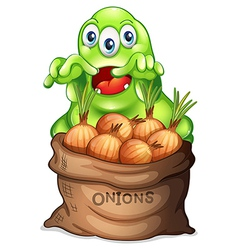 A sack of onions with a monster vector image vector image