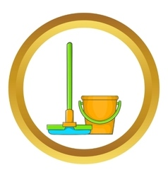 Bucket with mop icon vector image vector image