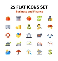 Business and finance icon set in flat vector image vector image