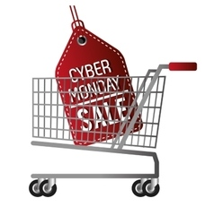 cyber monday sale offer cart vector image vector image