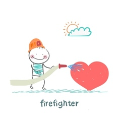 Firefighter extinguishes heart vector