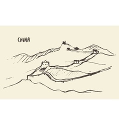 Sketch Great Wall of China vector image