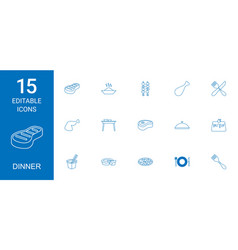 15 dinner icons vector