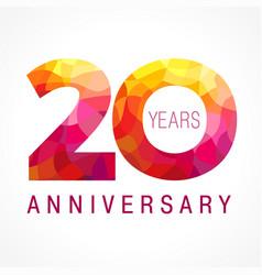 20 anniversary red logo vector