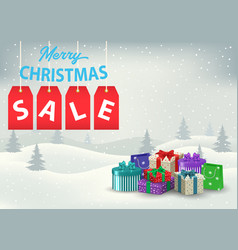 A christmas sale poster with colorful gifts on a vector