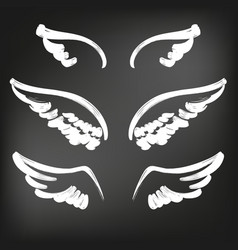 Angel wings icon sketch collection abstract wings vector