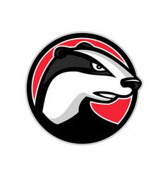 badger head circle mascot vector image