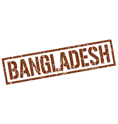 Bangladesh brown square stamp vector