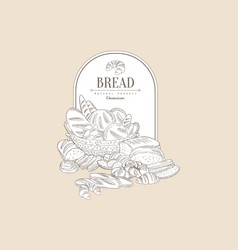 basket with bakery goods and place for text vector image