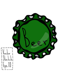 beer bottle cap doodle style sketch vector image