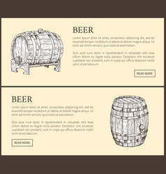 Big beer wood barrel and small pin landing page vector