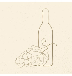 Bottle wine and grapes vector