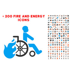 burn patient icon with bonus fire collection vector image
