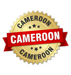 Cameroon round golden badge with red ribbon vector