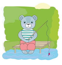 cartoon bear catches fish vector image