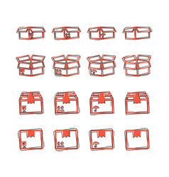 cartoon set of packaging box icon in comic style vector image