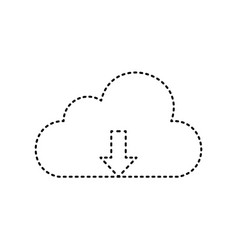cloud technology sign black dashed icon vector image