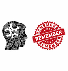 Collage mind gears with textured remember seal vector