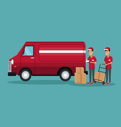 Color background with men worker with truck and vector