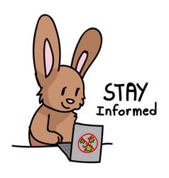 Corona virus kids cartoon stay informed cute bunny vector