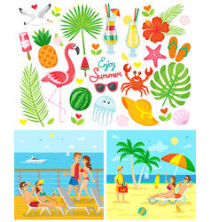 couple on beach and ship enjoy summer vector image