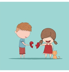 Cute cartoon boy and girl couple vector image
