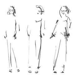 Cute cartoon girls models sketch fashion vector