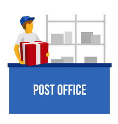 Delivery man in blue uniform holding red gift box vector