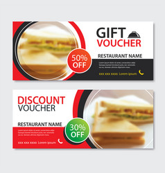 discount voucher sandwich template design set of vector image