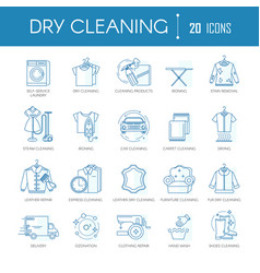 Dry cleaning laundry service line icons set vector