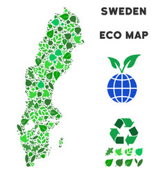 Ecology green mosaic sweden map vector