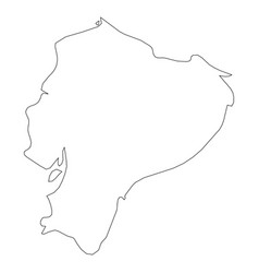 ecuador - solid black outline border map of vector image