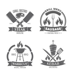 Fast food and grill badges vector