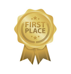 First place win gold badges vector