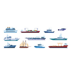 Flat boats ocean sailboats ships yacht and vector