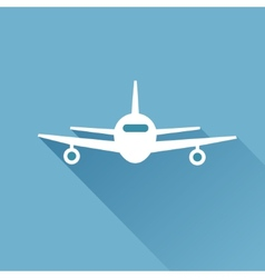 Flat long shadow air plane vector image