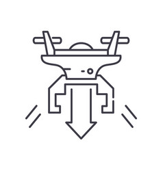 Fly down drone icon linear isolated vector