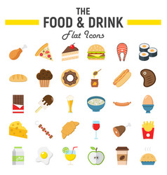 Food and drink flat icon set meal signs vector