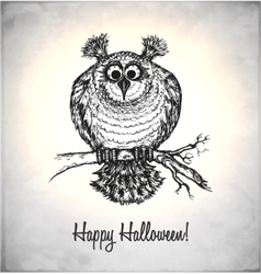 Frightened owl in a sketch style vector image