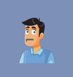 Funny secretive man with zipped mouth vector