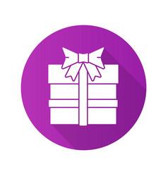 gift box flat design long shadow icon vector image