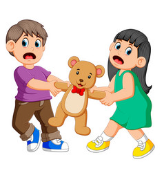 girl and boy fighting over a doll vector image